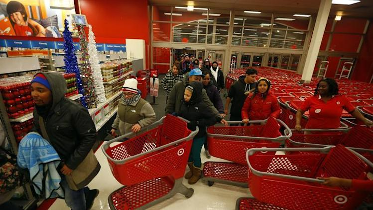 Thanksgiving Day holiday shoppers enter the Target retail store in Chicago