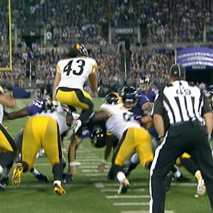 Pittsburgh Steelers safety Troy Polamalu nearly blocks FG with spectacular leap