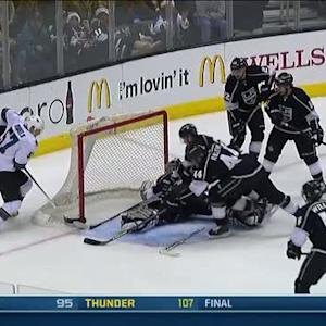 Martin Jones robs Wingels from the floor