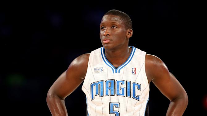 Team Webber's Victor Oladipo of the Orlando Magic looks on against Team Hill during the BBVA Compass Rising Stars Challenge 2014 as part of the 2014 NBA Allstar Weekend at the Smoothie King Center on February 14, 2014 in New Orleans, Louisiana
