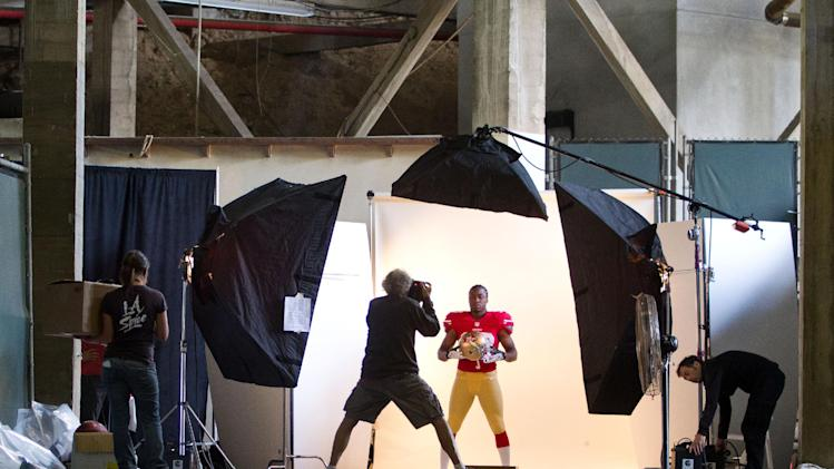 IMAGE DISTRIBUTED FOR NFLPA - San Francisco 49ers' Marcus Lattimore is photographed during a photo-shoot at the NFLPA Rookie Premiere, on Saturday, May 18, 2013 in Pasadena, Calif. (Jeff Lewis / AP Images for NFLPA)