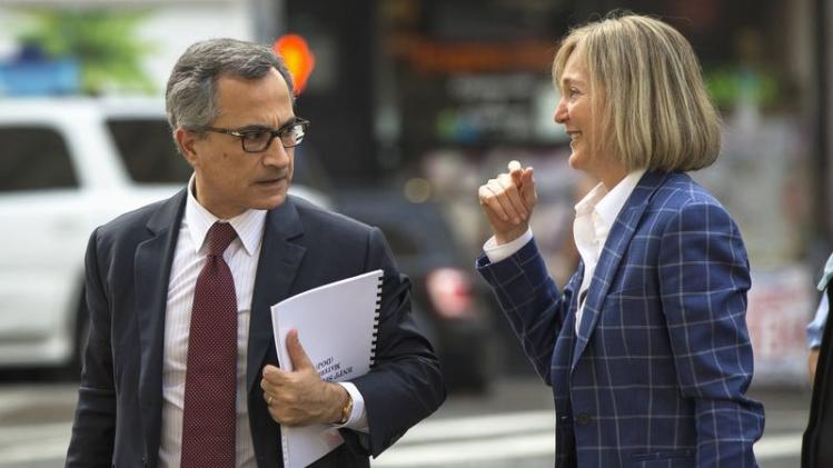 Georges Dirani, general council for BNP Paribas, arrives with Seymour before entering U.S. District Court for the Southern District of New York in Lower Manhattan