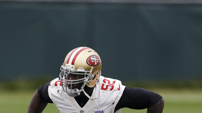 San Francisco 49ers linebacker Patrick Willis (52) practices at the NFL football team's training facility in Santa Clara, Calif., Wednesday, Jan. 23, 2013. The 49ers are scheduled to face the Baltimore Ravens in the Super Bowl on Sunday, Feb. 3. (AP Photo/Jeff Chiu)