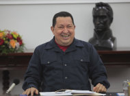 Venezuelan President Hugo Chavez is seen during a cabinet meeting at Miraflores Palace in Caracas May 29, 2012. Mystery, rumor and conspiracy theories surround Chavez's health almost a year after his cancer diagnosis, with many Venezuelans contemplating a future without their larger-than-life president. Chavez, a burly former soldier who has dominated the OPEC country for 13 years, says he is on the road to recovery and will seek re-election in October. About two-thirds of voters believe he will get better and he leads most opinion polls. REUTERS/Miraflores Palace/Handout (VENEZUELA - Tags: POLITICS HEALTH ELECTIONS) FOR EDITORIAL USE ONLY. NOT FOR SALE FOR MARKETING OR ADVERTISING CAMPAIGNS. THIS IMAGE HAS BEEN SUPPLIED BY A THIRD PARTY. IT IS DISTRIBUTED, EXACTLY AS RECEIVED BY REUTERS, AS A SERVICE TO CLIENTS