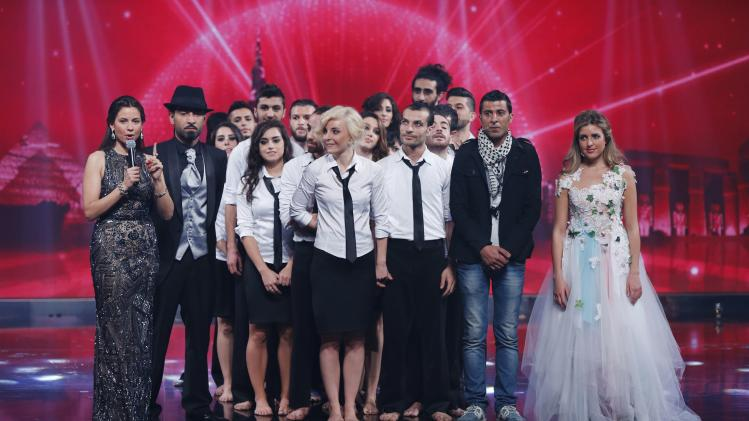 "Finalists await the announcement of the winner during the Season 3 finale of ""Arabs Got Talent"" in Zouk Mosbeh area, north of Beirut"