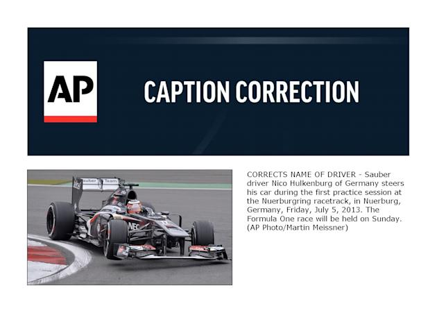 CORRECTION Germany F1 GP Auto Racing