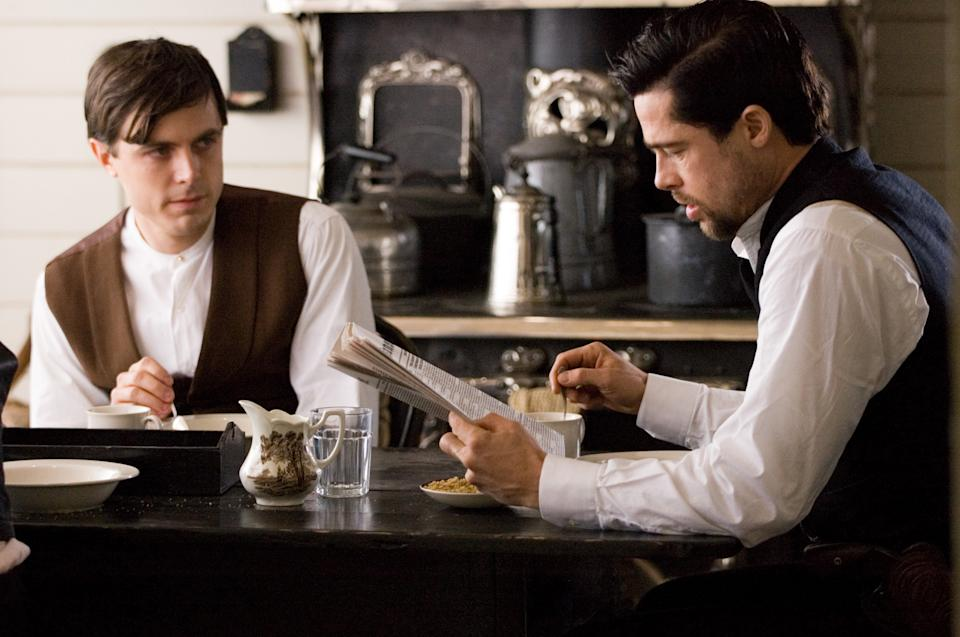 "FILE - This publicity file photo provided by Warner Bros. shows Casey Affleck, left, and Brad Pitt in ""The Assassination of Jesse James by the Coward Robert Ford."" (AP Photo/Warner Bros./Kimberley French, File)"