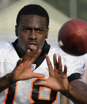Cincinnati Bengals' wide receiver A.J. Green catches a pass during NFL football training camp Thursday, Aug. 4, 2011, in Georgetown, Ky. (AP Photo/Al Behrman)