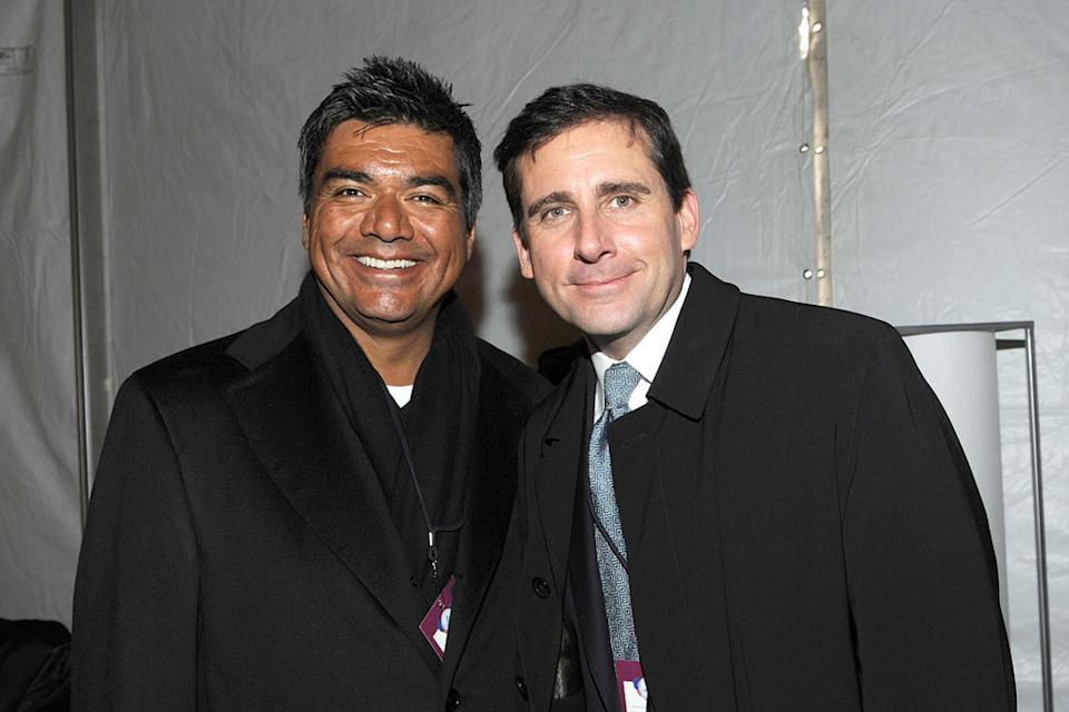 "George Lopez and Steve Carell backstage at ""We Are One: The Obama Inaugural Celebration At The Lincoln Memorial"" presented exclusively by HBO on Sunday January 18th 2009."