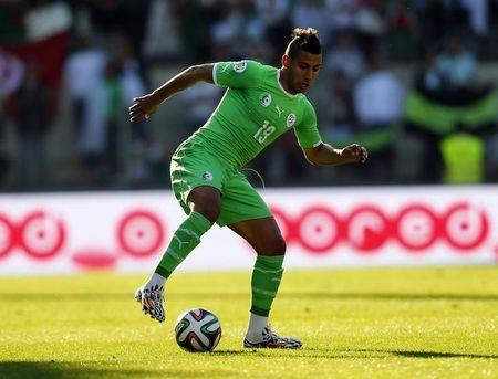 Algeria's Taider controls the ball during their international friendly soccer match against Armenia at the Tourbillon stadium in Sion