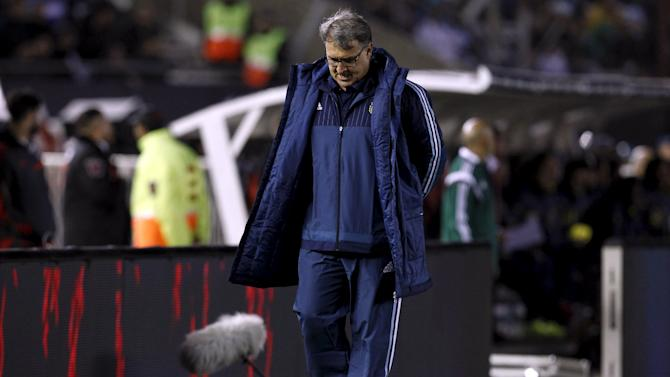 Argentina's head coach Gerardo Martino reacts at the end of their 2018 World Cup qualifying soccer match against Ecuador at the Antonio Vespucio Liberti stadium in Buenos Aires