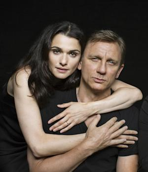 """This theater publicity image released by Boneau Bryan Brown shows Rachel Weisz, left, Daniel Craig in a promotional photo from Harold Pinter's """"Betrayal,"""" a play about a love triangle and the pain of loss that stars real-life couple Rachel Weisz and Daniel Craig. The play opens Oct. 27 at the Barrymore Theatre in New York. (AP Photo/Boneau Bryan Brown, Brigitte Lacombe)"""