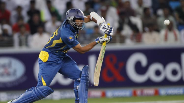 Sri Lanka's Tillakaratne Dilshan plays a shot during their second Twenty20 international cricket match against Pakistan in Dubai