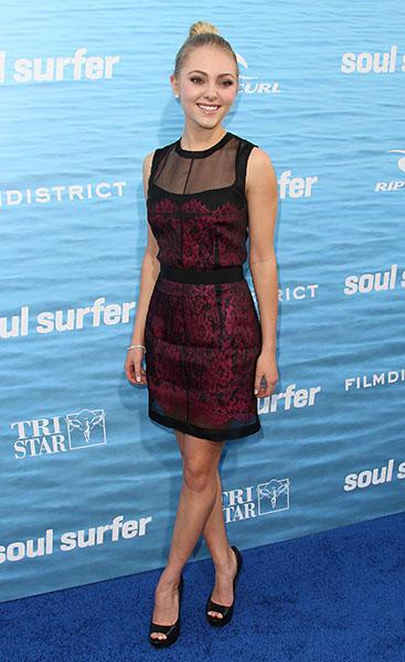 "On the blue carpet of the ""Soul Surfer"" premiere, March 2011"