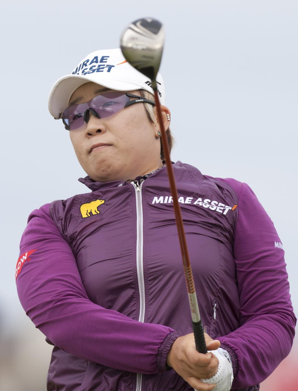 South Korea's Jiyai Shin drives off the 4th tee at the Women's British Open golf championships at Royal Liverpool Golf Club, Hoylake, England, Sunday, Sept. 16, 2012.  (AP Photo/Jon Super)