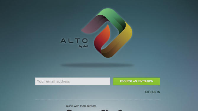 "This screenshot shows a preview for Alto, AOL Inc. launched Alto on Thursday,Oct. 18, 2012, not as a new email service, but rather, Alto works in concert with other email accounts to clean out and organize messages, social network notifications, daily deals, photos and email attachments. The service is available for free by invitation to users in a closed ""beta"" test. (AP Photo/Alto)"