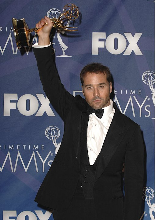 Jeremy Piven poses with his Best Supporting Actor in a Comedy Emmy in the press room at the 59th Annual Primetime Emmy Awards at the Shrine Auditorium on September 16, 2007 in Los Angeles, California.