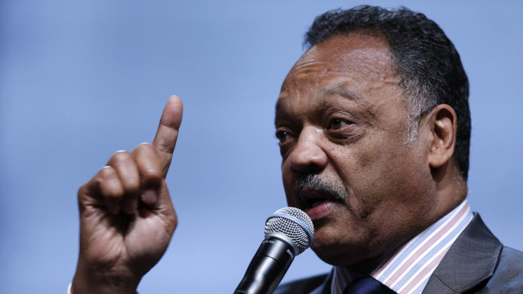 FILE - In this Friday, July 26, 2013, file photo, the Rev. Jesse Jackson speaks as he takes part in a panel discussion during the National Urban League's annual conference, in Philadelphia. Jackson plans to lead a delegation to the Hewlett Packard annual shareholder meeting on Wednesday, March 19, 2014, to bring attention to Silicon Valley's poor record of including blacks and Latinos in hiring, board appointments and startup funding. (AP Photo/Matt Rourke, File)