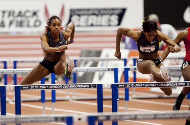 Soukup and Castlin compete in the women's 60 meter hurdles preliminary heat at the USA Indoor Track and Field Championships in Albuquerque