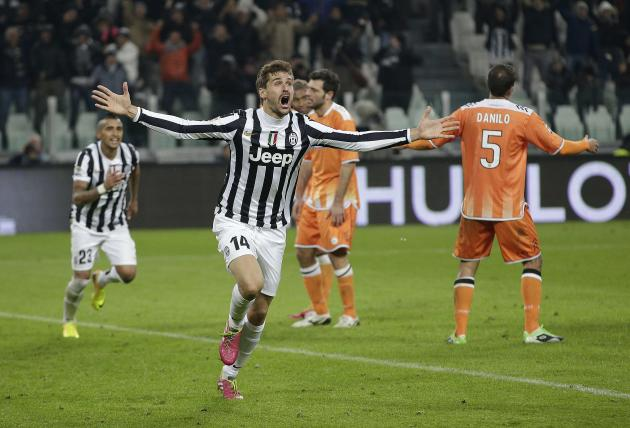 Juventus' Llorente celebrates after scoring against Udinese during their Italian Serie A soccer match at Juventus stadium in Turin