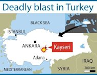 Map of Turkey locating Kayseri where a suicide bomb squad killed a policeman and wounded more than a dozen people after they drove into a police station and opened fire, Turkish officials said