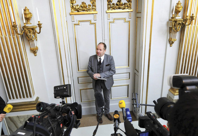 Peter Englund, permanent secretary of the Royal Swedish Academy, announces that Chinese writer Mo Yan has been named the winner of the 2012 Nobel Prize in literature, Thursday Oct. 11, 2012 in Stockholm. The Swedish Academy, which selects the winners of the prestigious award, in Thursday praised Mo&#39;s &quot;hallucinatoric realism&quot; saying it &quot;merges folk tales, history and the contemporary.&quot; As with the other Nobel Prizes, the prize is worth 8 million kronor, or about $1.2 million. (AP Photo/Fredrik Sandberg) SWEDEN OUT