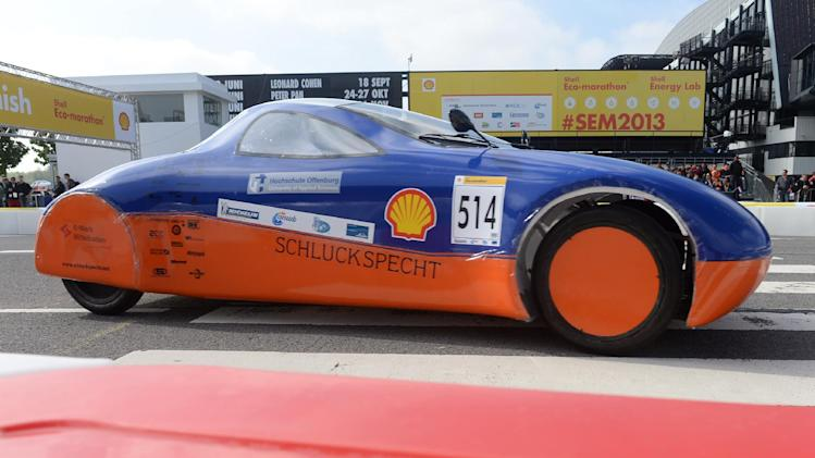 IMAGE DISTRIBUTED FOR SHELL - The Schluckspecht 4, vehicle No. 514, UrbanConcept, running on Diesel, competing for team Schluckspecht from University of Applied Sciences Offenburg, Germany, on the track during final day of competition at the Shell Eco-marathon Challenge Europe held at The Ahoy centre in Rotterdam, The Netherlands on  Sunday, May 19, 2013. Teams from universities all over Europe have brought their energy efficient cars to compete through the three-day challenge. (Ermindo Armino/AP Images for Shell)