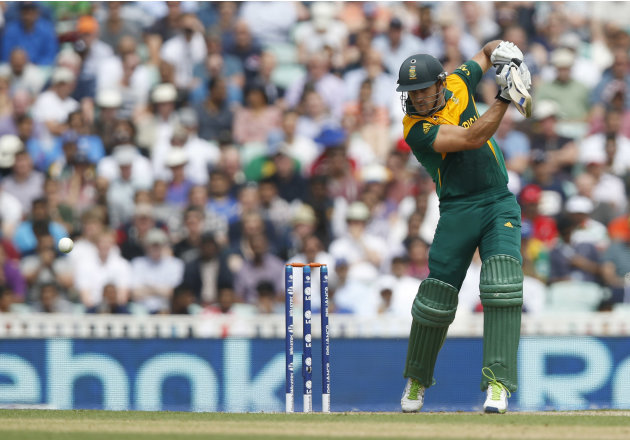 England's South Africa's Francois du Plessis plays a shot off the bowling of England's Steven Finn during their ICC Champions Trophy semifinal cricket match at the Oval cricket ground in London, Wedne