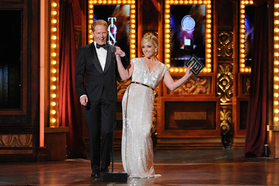 Actors Jesse Tyler Ferguson, left, and Jane Krakowski present the Tony award for best original score, at the 67th Annual Tony Awards, on Sunday, June 9, 2013 in New York. (Photo by Evan Agostini/Invision/AP)