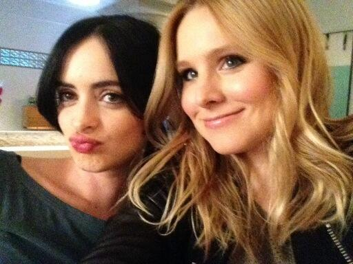 Double selfie trouble on the set with #krystenritter #veronicamarsmovie @veronicamars