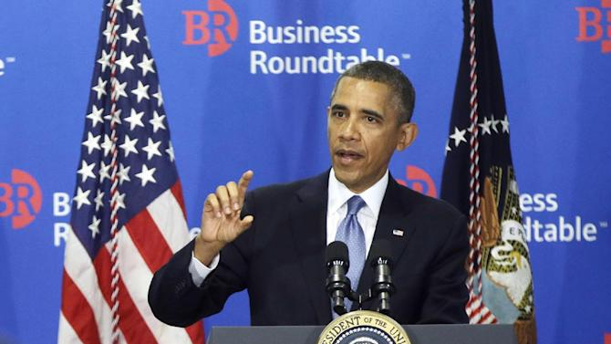 """FILE - In this Sept. 18, 2013 file photo, President Barack Obama speaks to members of the Business Roundtable, a trade group representing America's big business, in Washington. President Barack Obama is working to put two major emerging trade deals with Europe and Asia on a """"fast track"""" to passage. But many congressional Democrats are working to sidetrack the proposed pacts ahead of this year's U.S. midterm elections. The Democratic president finds himself in the rare position of having House Speaker John Boehner as an ally on the issue and Senate Majority Leader Harry Reid as a foe. (AP Photo/Pablo Martinez Monsivais, File)"""