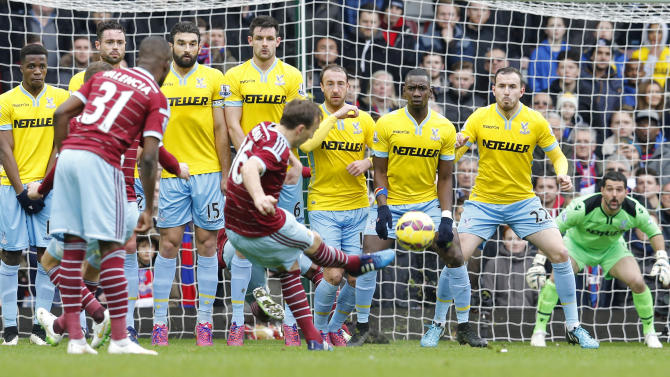 Football: West Ham's Mark Noble shoots at goal from a free kick