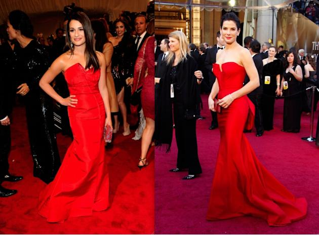 The difference here is small, but it is not insignificant; while Lea Michele's (25) beautiful red gown is wearing her (and threatening to engulf her), Sandra Bullock (47) is wearing her stunning red g