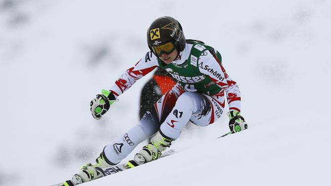 Fenninger of Austria clears a gate during the first run of the World Cup Women's Giant Slalom race in Kuehtai ski resort