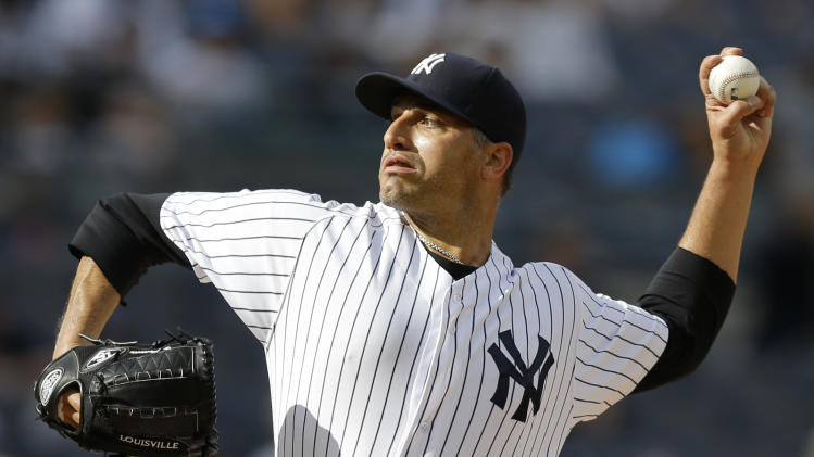 New York Yankees starting pitcher Andy Pettitte delivers in the first inning of a baseball game against the Toronto Blue Jays at Yankee Stadium, Thursday, Aug. 22, 2013, in New York. (AP Photo/Kathy Willens)