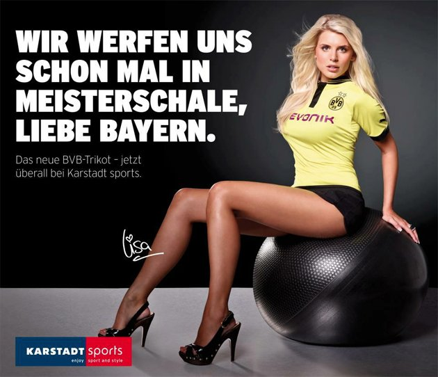 WAG Lisa Rossenbach models the new Borussia Dortmund strip (karstadt.de)
