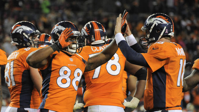 Denver Broncos wide receiver Demaryius Thomas (88) celebrates with quarterback Peyton Manning (18) after catching a pass from Manning for a touchdown against the New Orleans Saints in the third quarter of an NFL football game, Sunday, Oct. 28, 2012, in Denver. (AP Photo/Jack Dempsey)