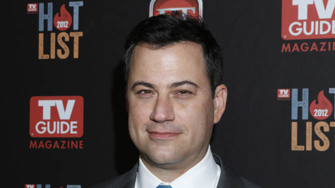 """FILE - This Nov. 12, 2012 file photo shows Jimmy Kimmel at the TV Guide Magazine's 2012 Hot List Party at Skybar at the Mondrian Hotel  in West Hollywood, Calif. Kimmel went head-to-head Tuesday, Jan. 8, 2013, for the first time against CBS' """"Late Show with David Letterman"""" and NBC's """"Tonight Show with Jay Leno."""" According to Nielsen fast national ratings, Kimmel edged out Letterman and ran slightly behind Leno in total viewers.   (Photo by Todd Williamson/Invision/AP, file)"""