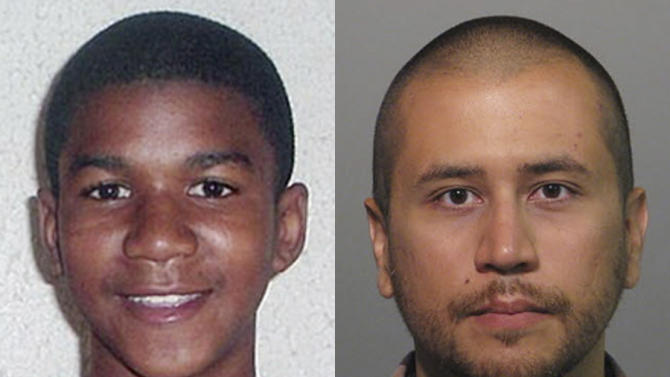 FILE -This combo image made from file photos shows Trayvon Martin, left, and George Zimmerman. On Saturday, July 13, 2013, jurors found Zimmerman not guilty of second-degree murder in the fatal shooting of 17-year-old Martin in Sanford, Fla. The six-member, all-woman jury deliberated for more than 15 hours over two days before reaching their decision Saturday night. (AP Photos, File)