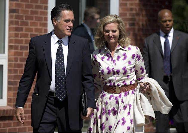 Republican presidential candidate, former Massachusetts Gov. Mitt Romney and his wife Ann, leave the Church of Jesus Christ of Latter-day Saints after services on Sunday, Sept. 2, 2012 in Wofeboro, N.