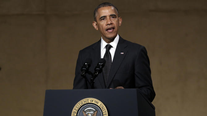 President Barack Obama speaks during the dedication ceremony in Foundation Hall, of the National September 11 Memorial Museum, in New York, Thursday, May 15, 2014. (AP Photo/Richard Drew, Pool)
