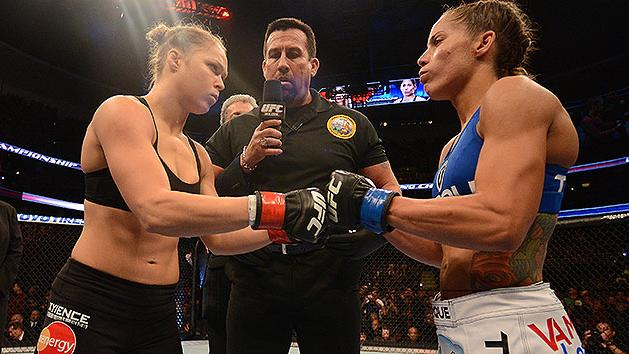 Ronda Rousey and Liz Carmouche face each other before their fight. (Getty)