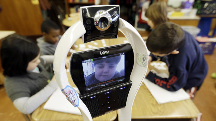 My classmate, the robot: NY pupil attends remotely