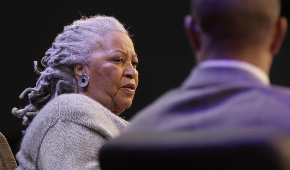 "Author Toni Morrison speaks during an interview about her latest book ""Home,"" during Google's online series, ""Authors At Google,"" on Wednesday, Feb. 27, 2013 in New York. (AP Photo/Bebeto Matthews)"