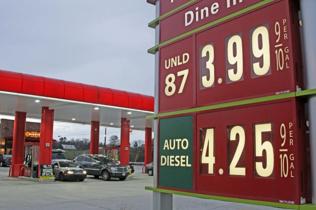 FILE - In this April 9, 2012 file photo, gas prices are posted at a gas station in Breezewood, Pa. Pump prices rose relentlessly from January through April, pushing average gas prices above $3.90 a gallon and taxing families' budgets. Some forecasters expected a $5 peak by the time families got on the road for summer vacations. But prices are expected drop by 10 cents by next week, thanks to a recent drop in oil and wholesale gas prices and frugality at the pump. (AP Photo/Gene J. Puskar)