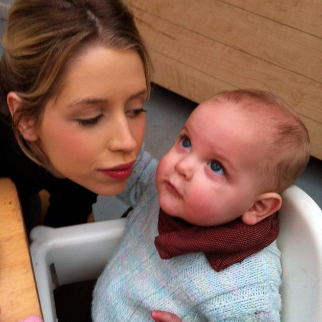 Celebrity Twitpics: Peaches Geldof tweeted this adorable photo of her with her son, Astala, during a trip out for lunch this week.
