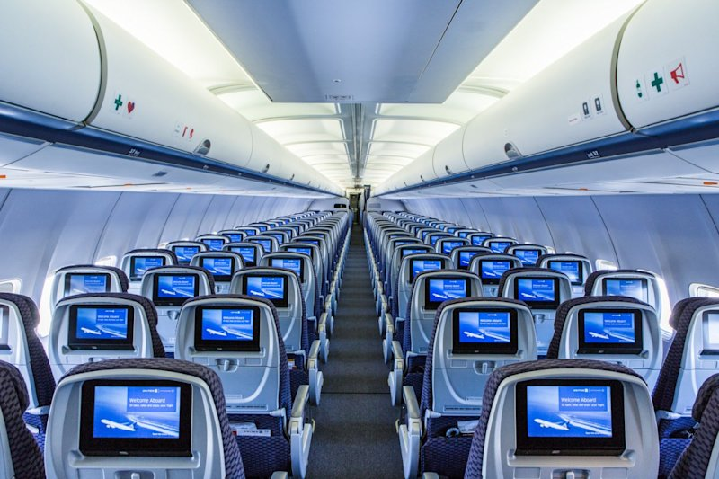 United Airlines premium service economy screens