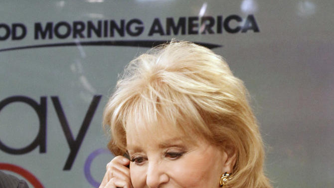 "This image released by American Broadcasting Companies shows Barbara Walters answering a phone to take donations for victims of Hurricane Sandy during ""Good Morning America,"" Monday, Nov. 5, 2012 in New York.  Walters made a contribution of $250,000 to the American Red Cross and GMA co-host George Stephanopoulos followed suit with a donation for $50,000. (AP Photo/American Broadcasting Companies, Lou Rocco)"