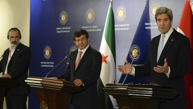 "U.S. Secretary of State John Kerry, right,  Turkish Foreign Minister Ahmet Davutoglu, center, and Syrian opposition leader Moaz al-Khatib address the media after a ""Friends of Syria"" group meeting at the Adile Sultan Palace on Sunday, April 21, 2013, in Istanbul, Turkey. The United States said Sunday that it will double its non-lethal assistance to Syria's opposition as the rebels' top supporters vowed to enhance and expand their backing of the two-year battle to oust President Bashar Assad's regime.   (AP Photo)"