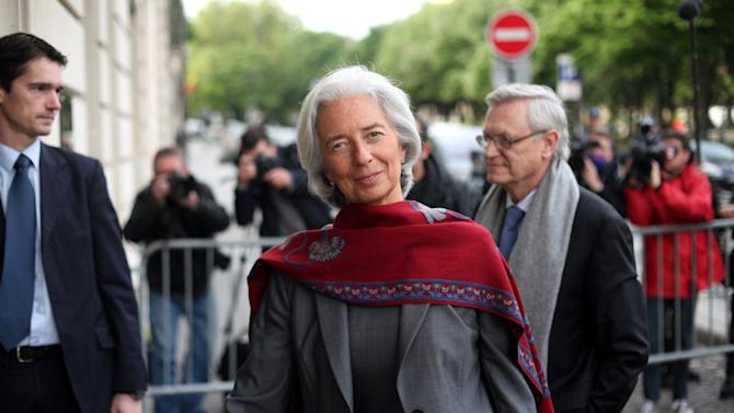 International Monetary Fund chief Christine Lagarde arrives for a second day of the court hearing at a special court house, in Paris, Friday, May 24, 2013.  Lagarde faced questioning at a special Paris court Friday over her role in the 400 million euro ($520 million) pay-off to a controversial businessman when she was France's finance minister. (AP Photo/Thibault Camus)